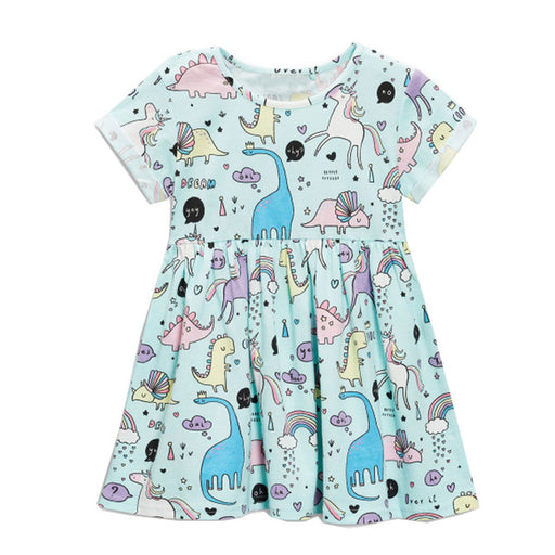 Girls Summer Dresses Animals Appliqued Girls Dress Unicorn Printed Kids Dresses for Girls Clothing Princess Costume Child - KiddyLanes