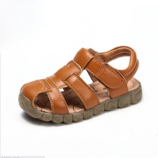 New 4 Designs Boys Soft Leather Sandals Baby Boys  Soft Sole Genuine Leather Sandals