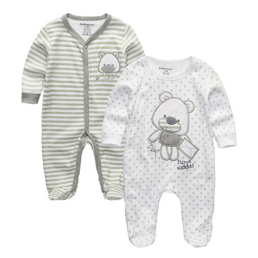 Newborn Unisex Rompers | Boy Girl Cotton Footed Rompers