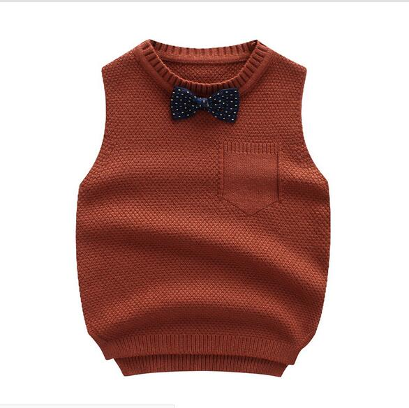 Boys Sweater Autumn Winter Boy Vest with Bowtie  Warm Half-sleeves Pullovers