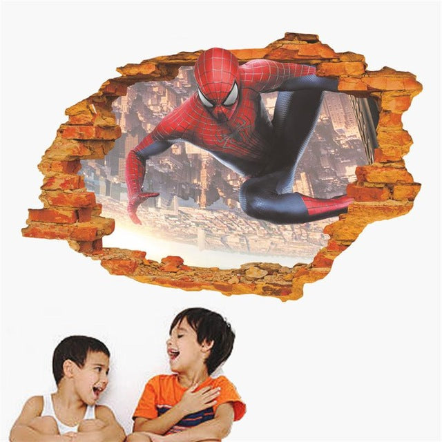 3D spider-man through the wall stickers home decoration