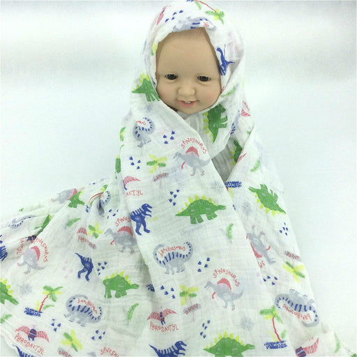 The Dinosaur Muslin Baby Blankets Swaddle Wrap 100% Cotton Soft Newborn Multifunctional Blanket Receiving BatchTowel - KiddyLanes