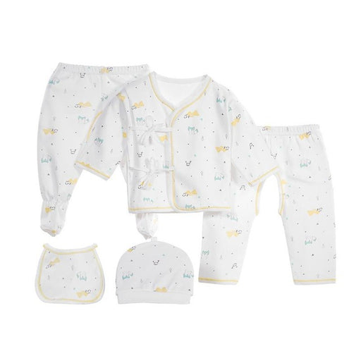 0-3 Months 5 PCs Newborn Baby Clothing Set Infant Cartoon Warm   Top Pants Hat Leggings Bib Baby Girl Boy Clothes - KiddyLanes