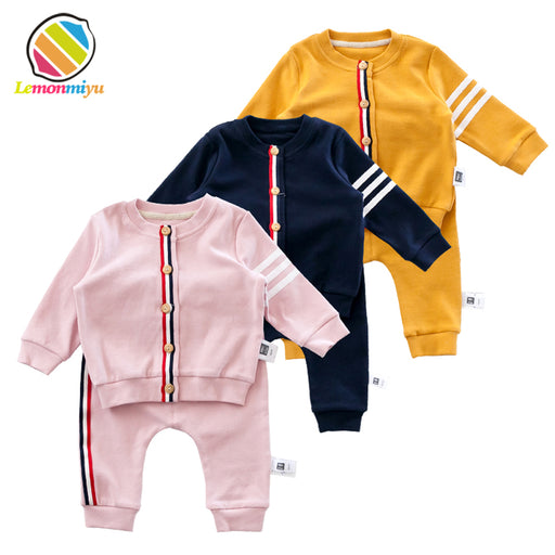 Baby 2 PCs Active Sets Infants Cotton Striped Suits Sweatshirts Long Pants Buttons Sets Newborns O-Neck Spring Outfits - KiddyLanes