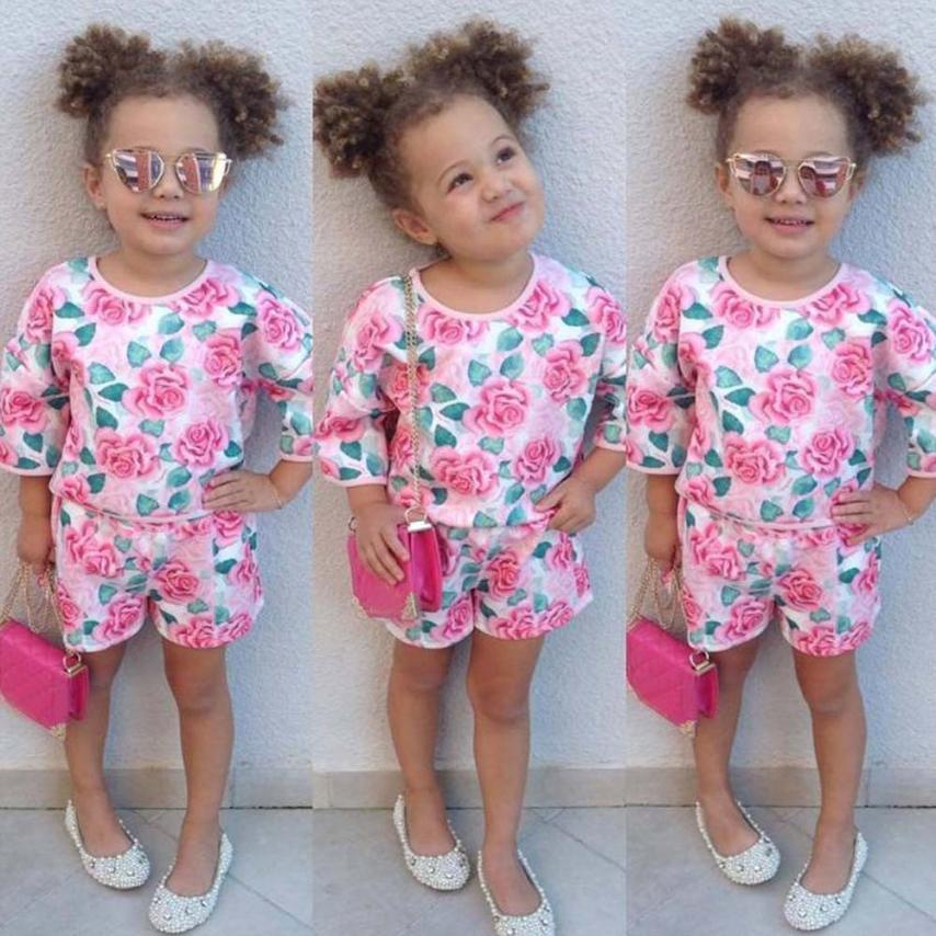 3M-18M party baby girl clothing set Toddler Girls floral print designer Outfits Clothes Blouse Tops+Shorts Set Suit High quality - KiddyLanes