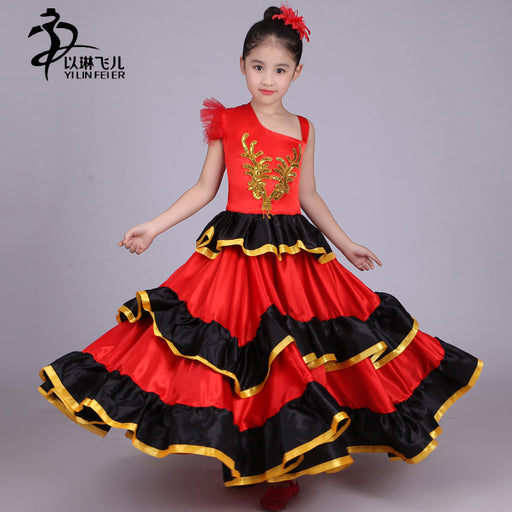 Kids Flamenco Skirt 360/540/720 Spanish Senorita Flamenco Dancer Fancy Dress Costume  /Spanish Flamenco Dance For Girl - KiddyLanes