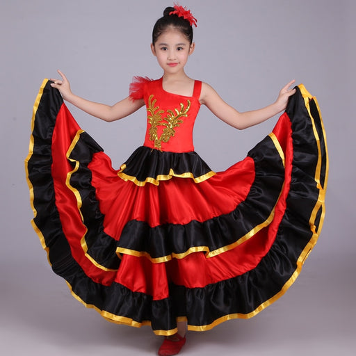 Girls Spanish Senorita Flamenco Dance Costume | Fancy Skirt Dress
