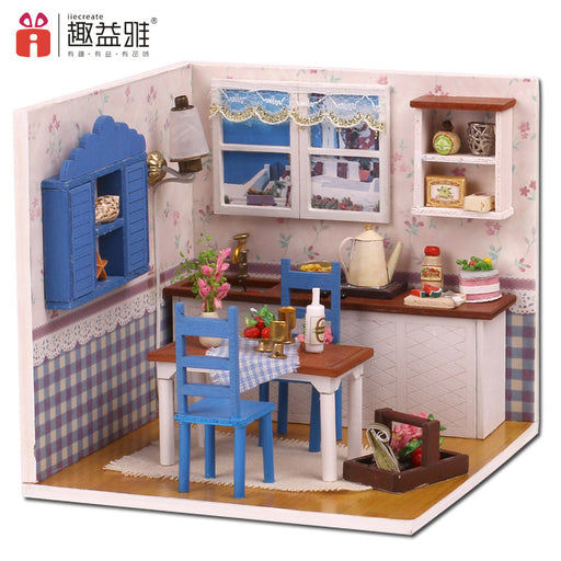 iiE CREATE DIY Doll House Wooden Doll Houses Miniature Dollhouse Toys with Furniture LED Lights Birthday Gift Restaurant Model