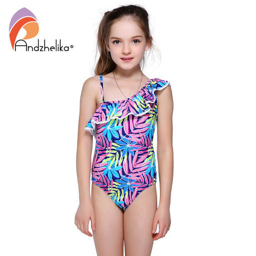 Swimsuit Children's Cute Lotus Leaf Swimwear One Piece Kid Summer One Shoulder Swimsuit Girls Sport Bathing Suit - KiddyLanes