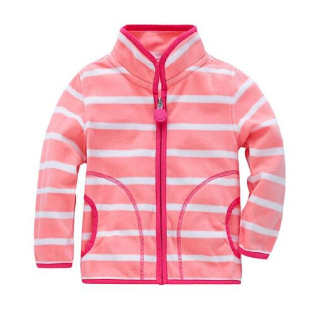 Unisex Jacket Stripe Fleece Kids Sweatshirt