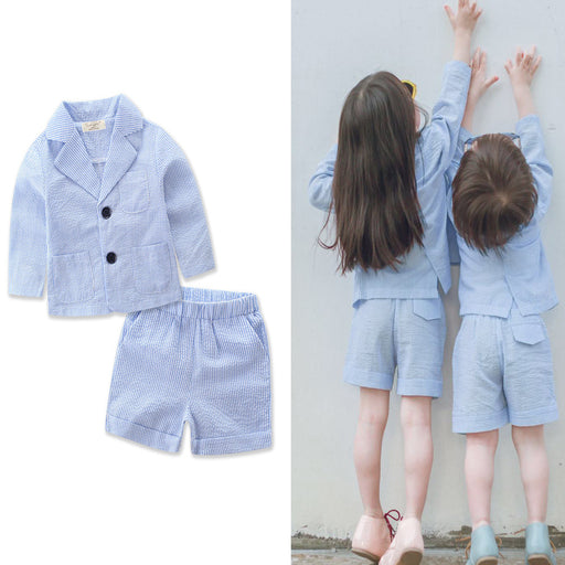 Pcs Blue Striped Outwear set Cute Kid baby Girl Boy Thin Clothes Long Sleeve Coat Tops Short Pant Formal Suit H936