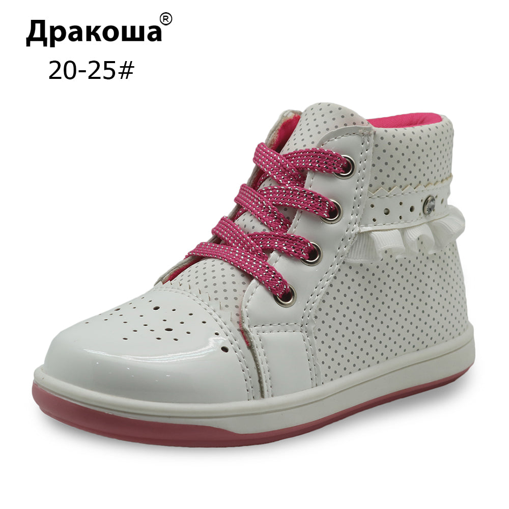 Apakowa Girl Shoes Spring Autumn Kids Pu Leather Ankle Boots Anti-Slip Children's Shoes with Crystal Toddler Girls Sneakers - KiddyLanes