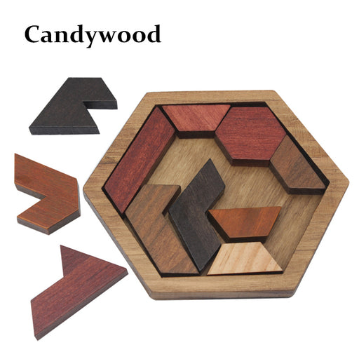 Funny Puzzles Wood Geometric Abnormity Shape Puzzle Wooden Toys Tangram/Jigsaw Board Kids Children Educational Toys for Boys - KiddyLanes