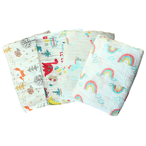 100% Muslin Cotton Blankets Cartoon Dinosaur Fox Multi-use Newborn Swaddle Muslin Baby Blanket Infant Gauze Both Towel Baby Wrap - KiddyLanes