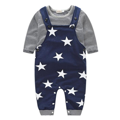 Baby Unisex Cotton Pants Sets Stripe T-shirt Top Star prints Bib Pants Overall Outfits - KiddyLanes