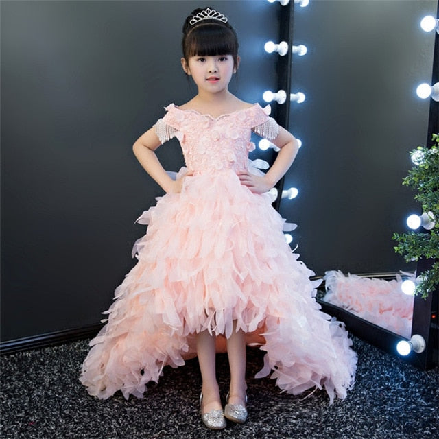 Luxury Fashion Children Girls Flowers Princess Party Dress With Long Feather Trailing Kids Elegant Pink Birthday Wedding Dress