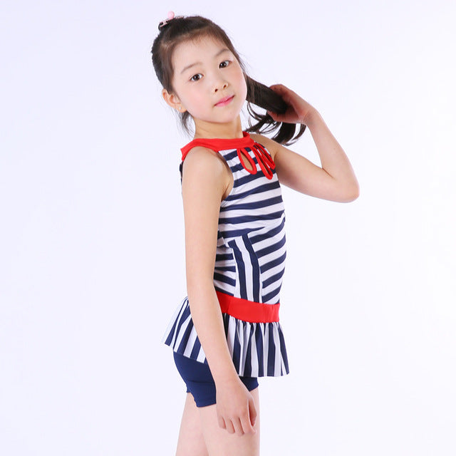 8647e42b61e2b Swimming Clothes For Children Girl One Piece Swinsuit Striped Polyester  Swimming Bathing Suits Baby Girls Swimwear