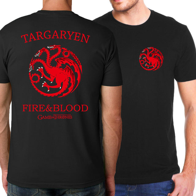 Game of Thrones Targaryen Fire & Blood T Shirt For Men Summer Hot Men T-Shirts