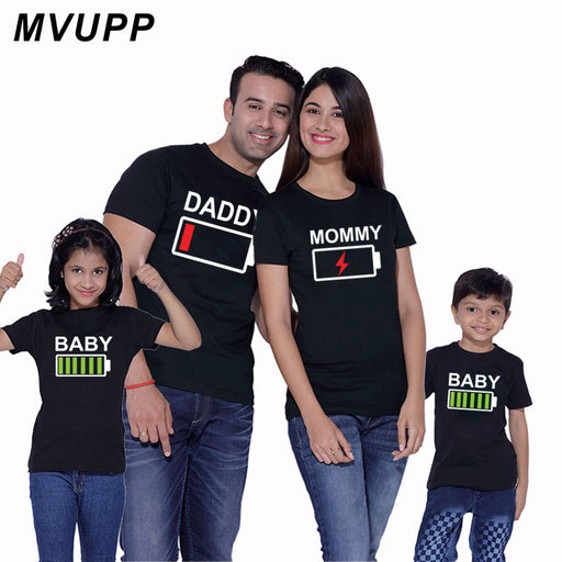 ccb11c8b1d3b Family Matching Outfits Father Mother and Daughter Son Clothes Look Cotton  daddy t shirt mom mum