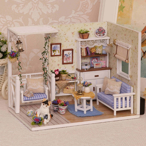 Elegant DIY Model Miniature Dollhouse With Furnitures LED 3D Wooden House Toys Cat Flower Handmade Crafts Gifts H013 #D