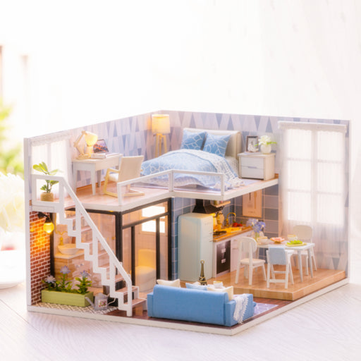 Elegant DIY Miniature Model Dollhouse Blue Time With Furnitures LED 3D Wooden House Toys Handmade Gifts For Children