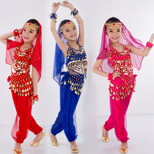 6111434699 Kids Belly Dance Costumes for Children Belly Dancing Set Girls Bollywood  Indian Performance Handmade Clothes 6