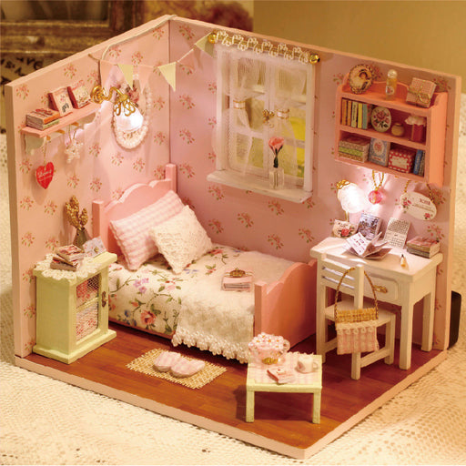 Sunshine Series Doll House Furniture Assemble Kits Toy Diy Miniature 3D Wooden Handmade Miniaturas Dollhouse Toys Gifts