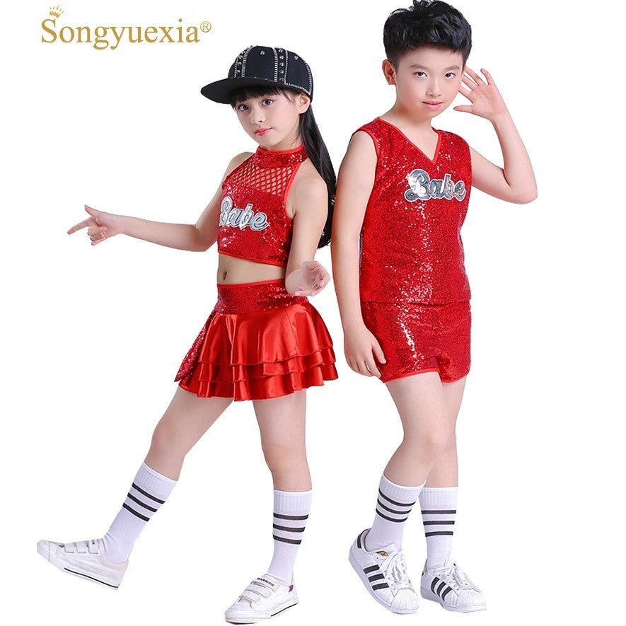 Songyuexia jazz dance costume girl Red hip hop dance costumes kids  cheerleader costume girl boy dance wear Stage dance Costumes