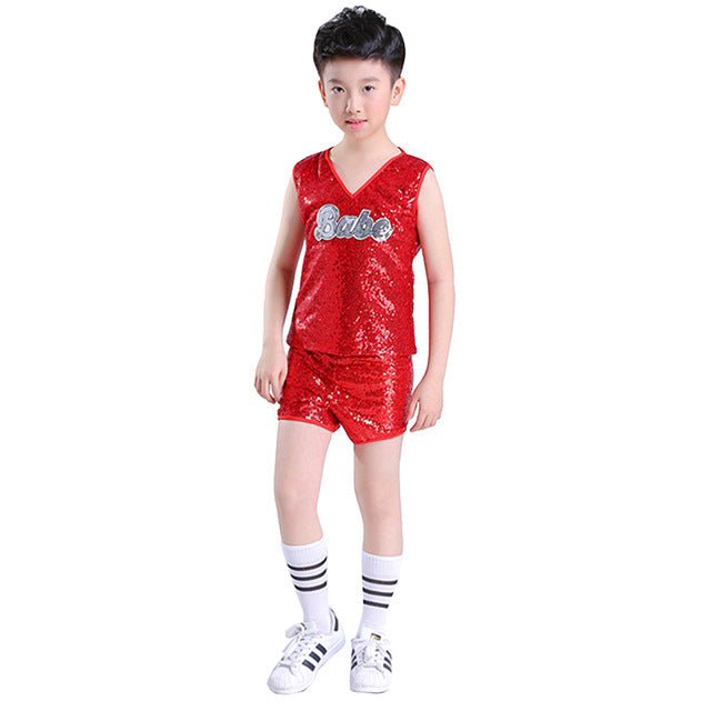 91f49a36f Songyuexia jazz dance costume girl Red hip hop dance costumes kids che