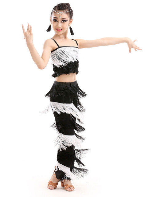 223d83f45 Tassel Latin Fringe Dance Costumes For Kids Latin Ballroom Competition Pants  & Tops Girls Cha Cha