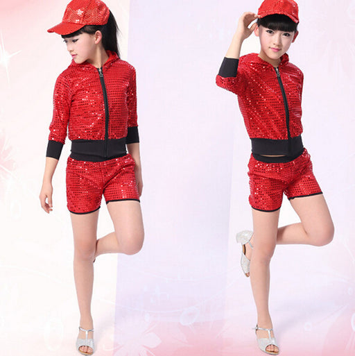 Red Bright Girls Boys Modern Hip Hop Dance Costumes Sequined hoodie Kids Ballroom Jazz Dancing Outfits Top&Pant - KiddyLanes