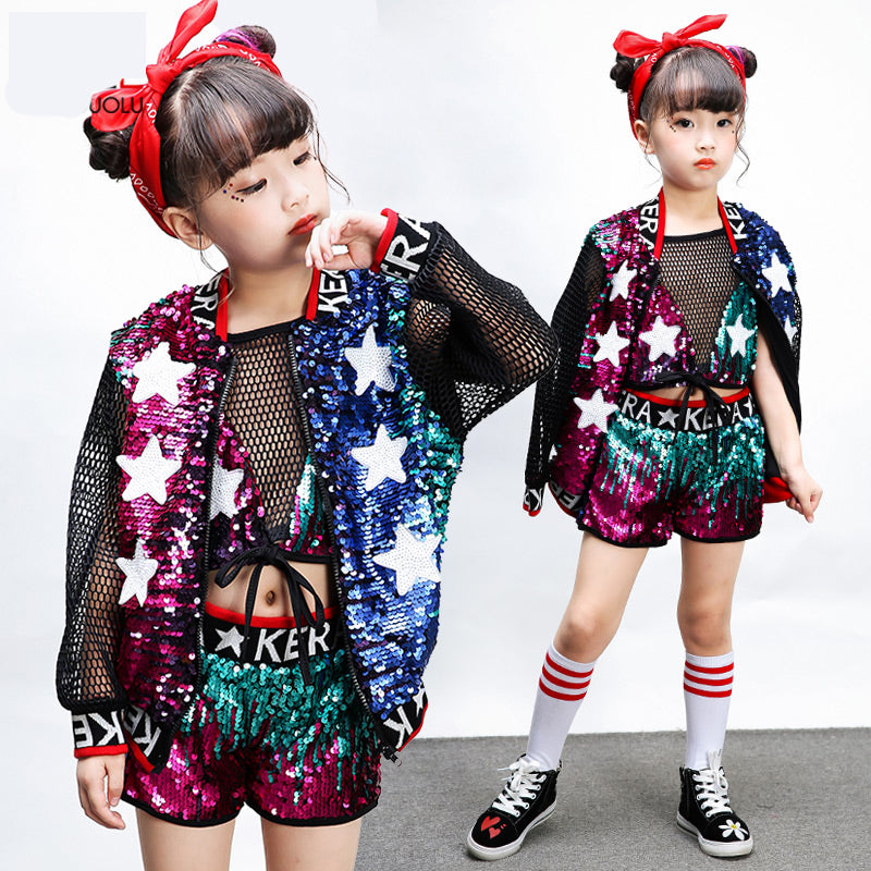 41b54fa1d386 Kids jazz modern dance costume sequins Girls Hip-hop Costumes Set jazz  Dance wear Children's