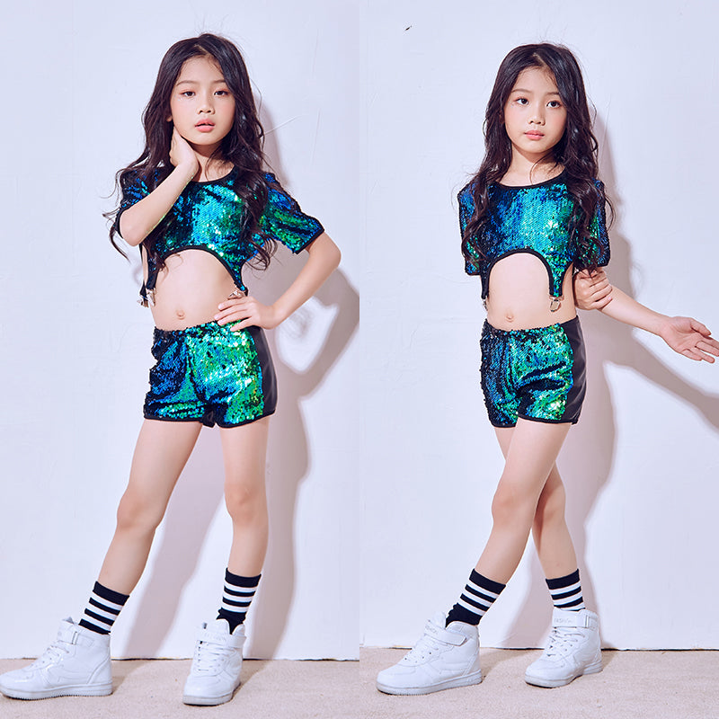 d1da40ca321 2018 Hip Hop Dance Costume Kids Girls Jazz Suit Short Sleeve Sequin Tops  Street Dance Clothing Cheerleading Stage Clothes