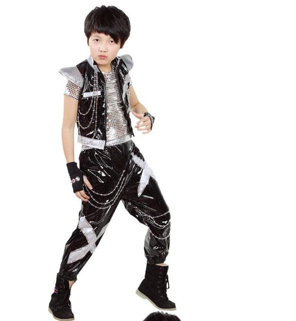 3 pieces Ballroom boys dancing Outfits New KId Girls Boys Sequined Ballroom Modern Jazz Hip Hop Dance Costume Top&Pants - KiddyLanes