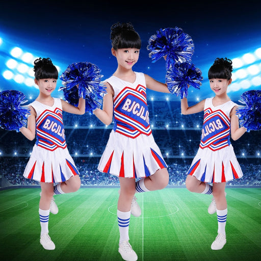 Sleeveless cheerleader uniform kids dance dress for girls boys modern dance costumes for kids tops+skirt - KiddyLanes