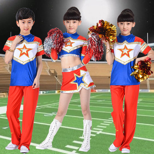 Short sleeves Blue ball cheerleader costume kids dance dress for girls boys modern dance costumes for kids tops+skirt - KiddyLanes