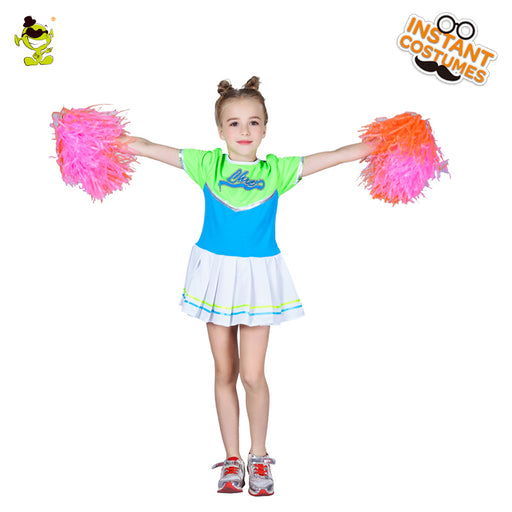 Girl's Cheerleader Costume Glee Style Cheerleading Summer Dress Halloween Fashion Fancy Cheerleaders Dress Uniform Party for Kid - KiddyLanes