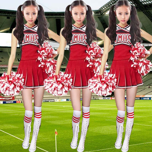 Children Cheerleader Costumes Girls Cheerleading Clothes Gymnastics Dress with Safety Pants and Socks - KiddyLanes