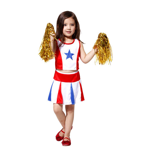 M-XL Girls Halloween Costumes Kids Cheerleader uniforms Cosplay kindergarten Children's day Stage performance Sports Games dress - KiddyLanes