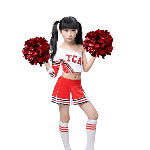 Girls Red & White Cheerleader Outfit + Poms Socks Cheer Uniform Dress Team wear 3-15Yrs - KiddyLanes