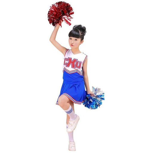 Girls Red & Blue Cheerleader Outfit Uniform + Poms Socks Set Fits 3-15Yrs Clothes Dress - KiddyLanes