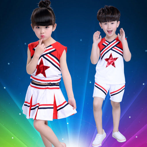 Children Girl Cheerleaders Costume Boy Kids Student School Uniform Gymnastics Leotard for Girls Dancing Dress - KiddyLanes