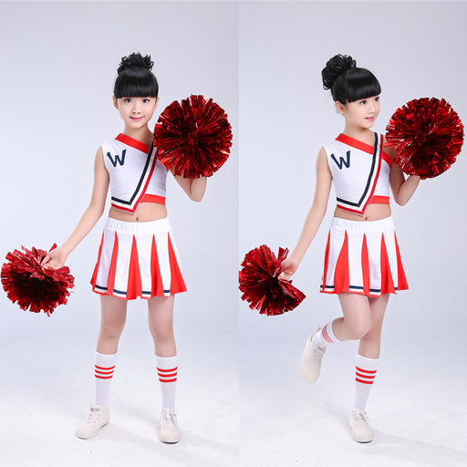 Children Girls Cheerleader Uniform Competition High School Cheerleader Team Dress Up Girl Uniforms Party Tops & Skirts - KiddyLanes