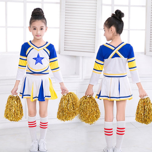 Girls  Blue Cheerleader Outfit+Poms+socks Fits 3-15Yrs Clothes Long Sleeve Dress - KiddyLanes