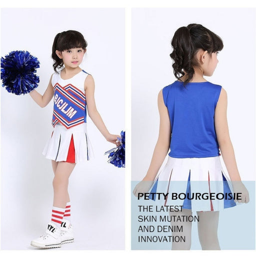 Kids Girls Red & Blue Cheerleader Outfit Uniform + Poms fits 5-13Yrs Clothes Dress - KiddyLanes