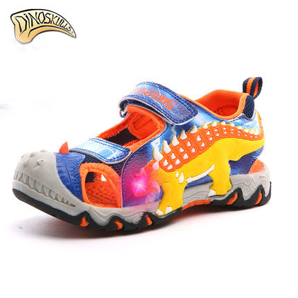 Fashion Cartoon Luminous Sneakers For Boys Children Glowing Sandals Beach Shoes Kids Led Sandals Sneakers 3D Dinosaur Sandals