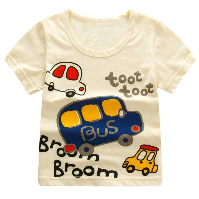 Girls & Boys Short Sleeve Cartoon Print  Striped T Shirts