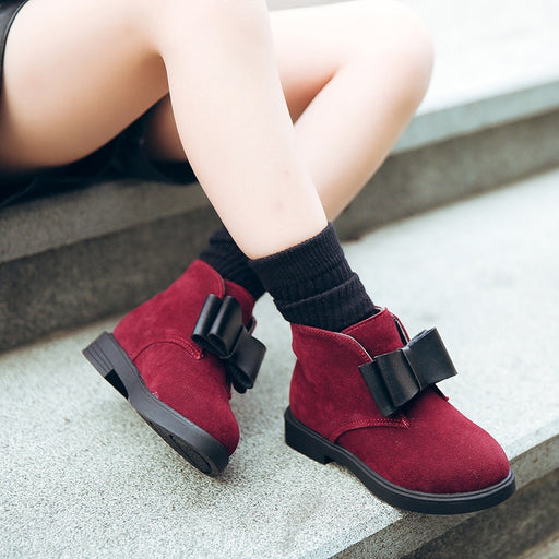 Autumn Winter PU Flock Leather Ankle Warm Boots Girls Fashion