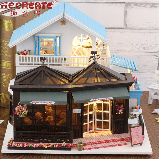 Wooden House The Carving time Toys For Children Birthday Gift Doll House Miniature DIY Dollhouse With Furnitures Kids Gifts