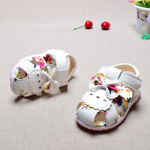 Summer Sandals for Baby Girls | PU Material Leather Bow Princess Sandals with Rose Flower | - KiddyLanes